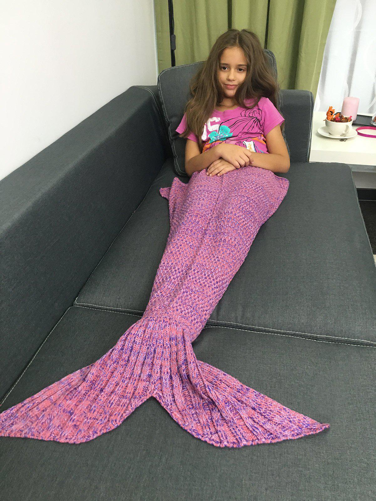 Online Stylish Yarn Knitted Sleeping Bags Mermaid Tail Shape Blanket
