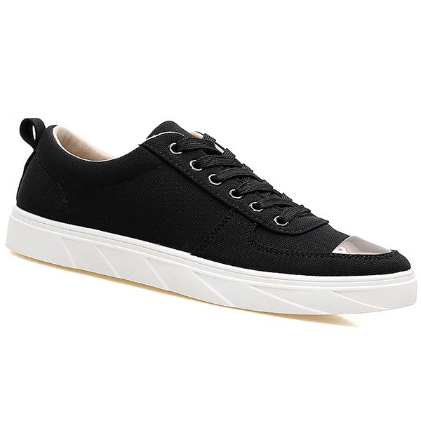 Fashion Metal Insert Lace Up Canvas Shoes