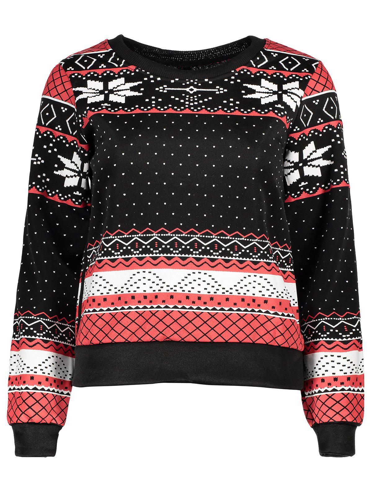 Shops Stylish Round Collar Ethnic Snowflakes Print Thicken Long Sleeve Sweatshirt For Women