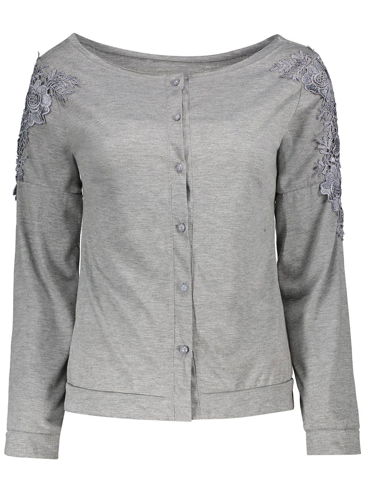 Affordable Long Sleeve Lace Embellished T-Shirt