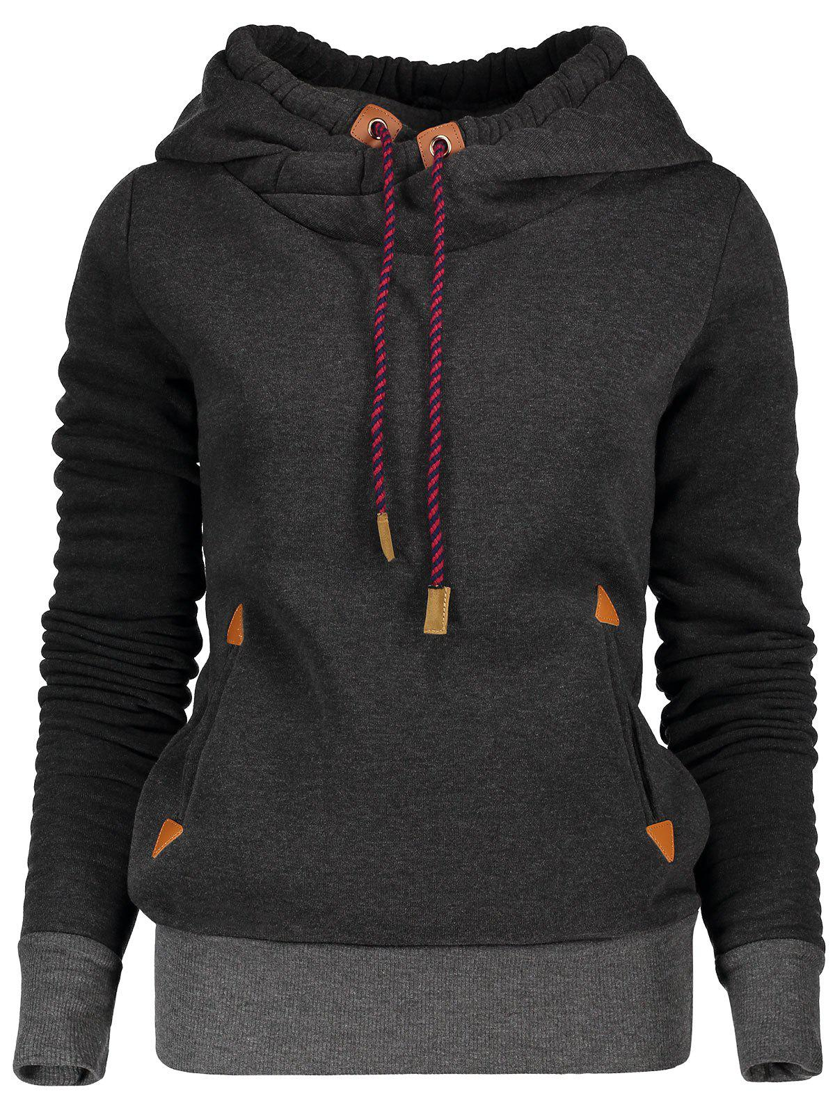 Stylish Hooded Long Sleeve Spliced Womens Pullover HoodieWOMEN<br><br>Size: L; Color: BLACK; Material: Polyester; Shirt Length: Regular; Sleeve Length: Full; Style: Fashion; Pattern Style: Patchwork; Weight: 0.47KG; Package Contents: 1 x Hoodie;