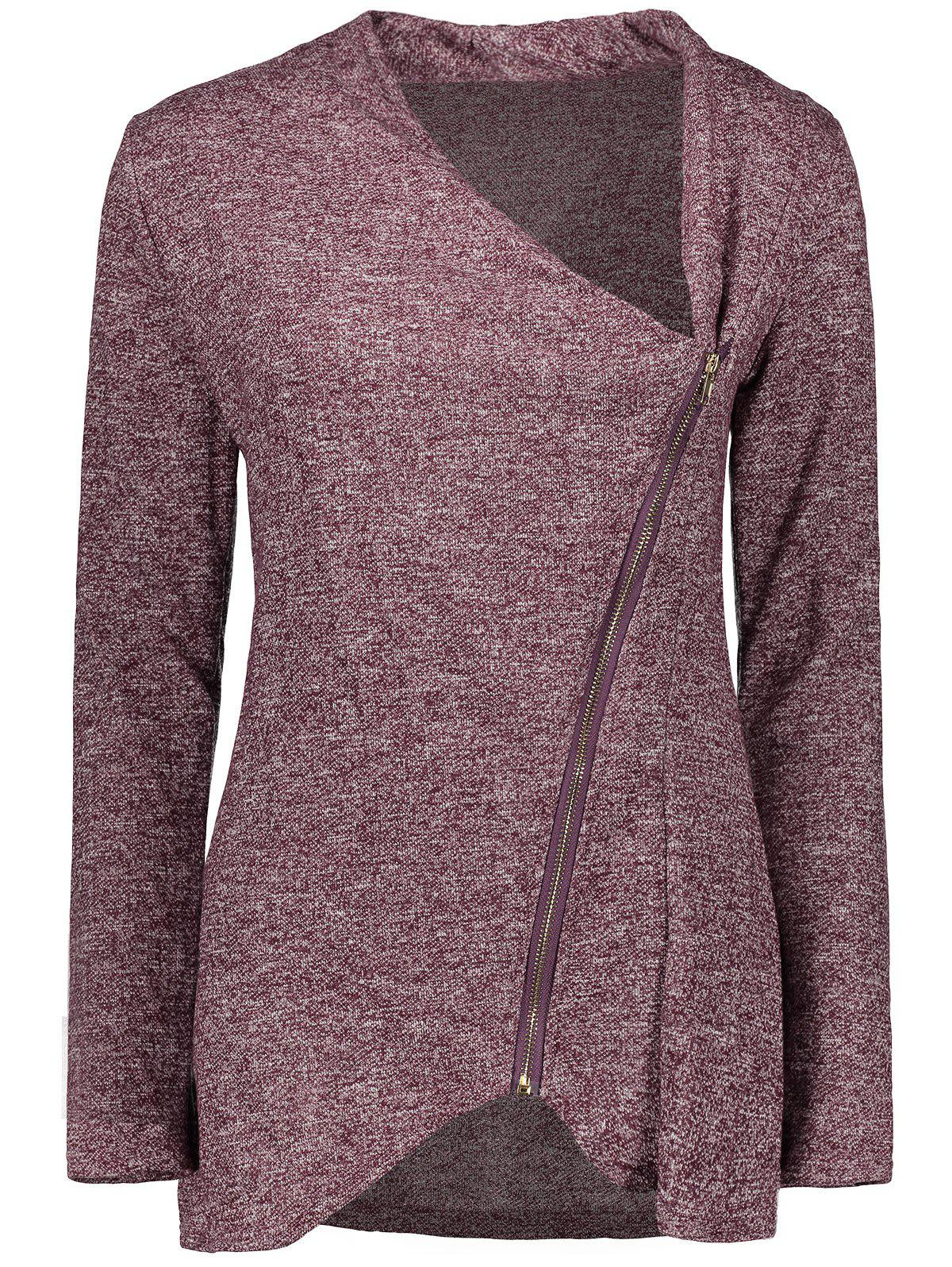 Latest Asymmetrical Zippered Women's Sweatshirt