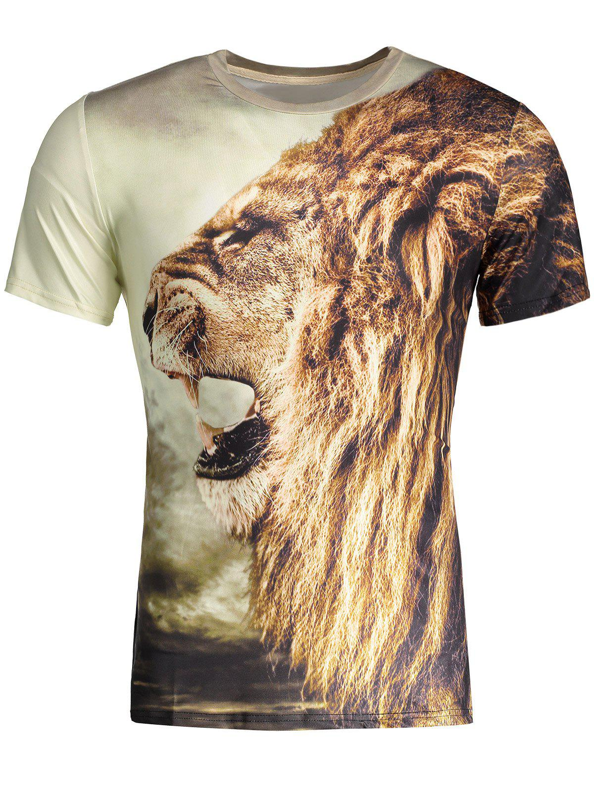 2019 Animal Lion King Print Round Neck Short Sleeves 3d T-shirt For ... f112c552a
