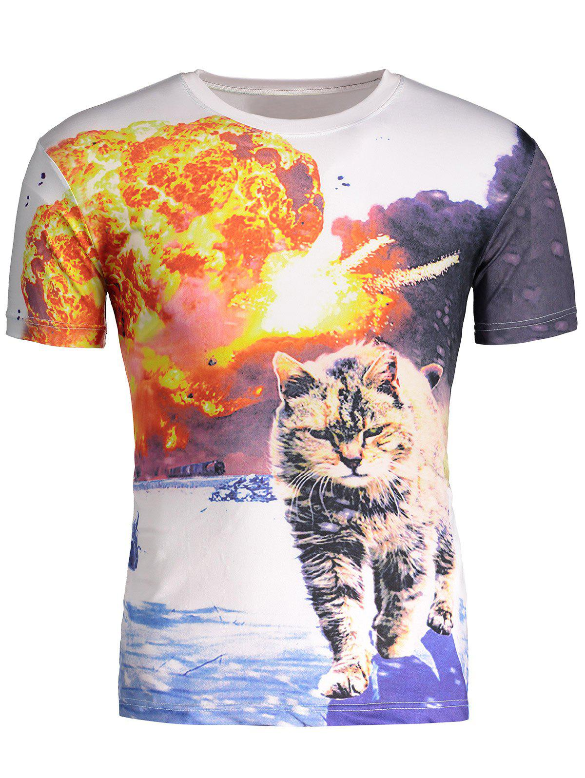 Online Hot Sale Round Neck 3D Explosion Cat Print Short Sleeves Cool T-Shirt For Men