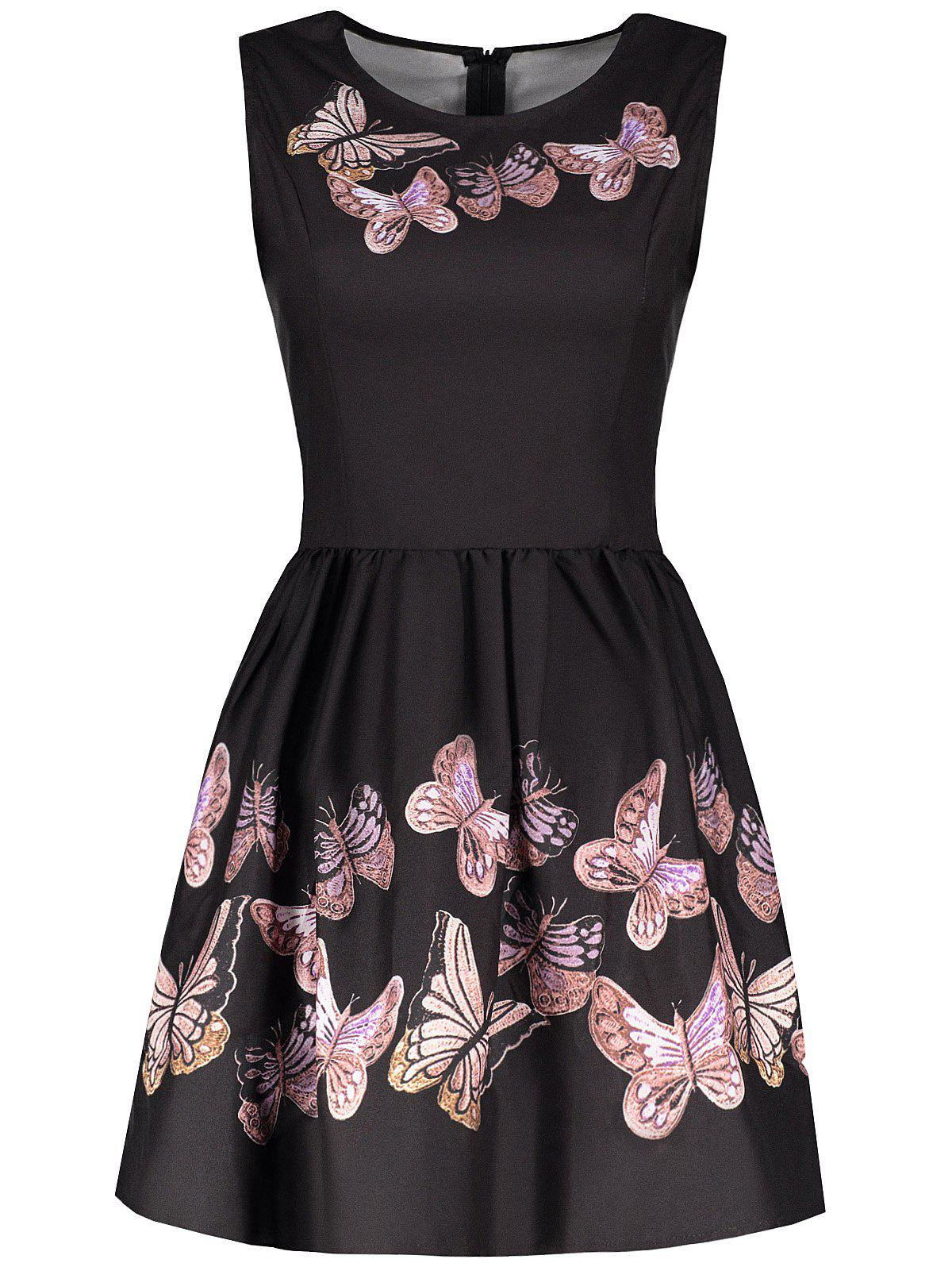 Latest Vintage Round Collar Sleeveless Butterflies Print Women's Ball Gown Dress