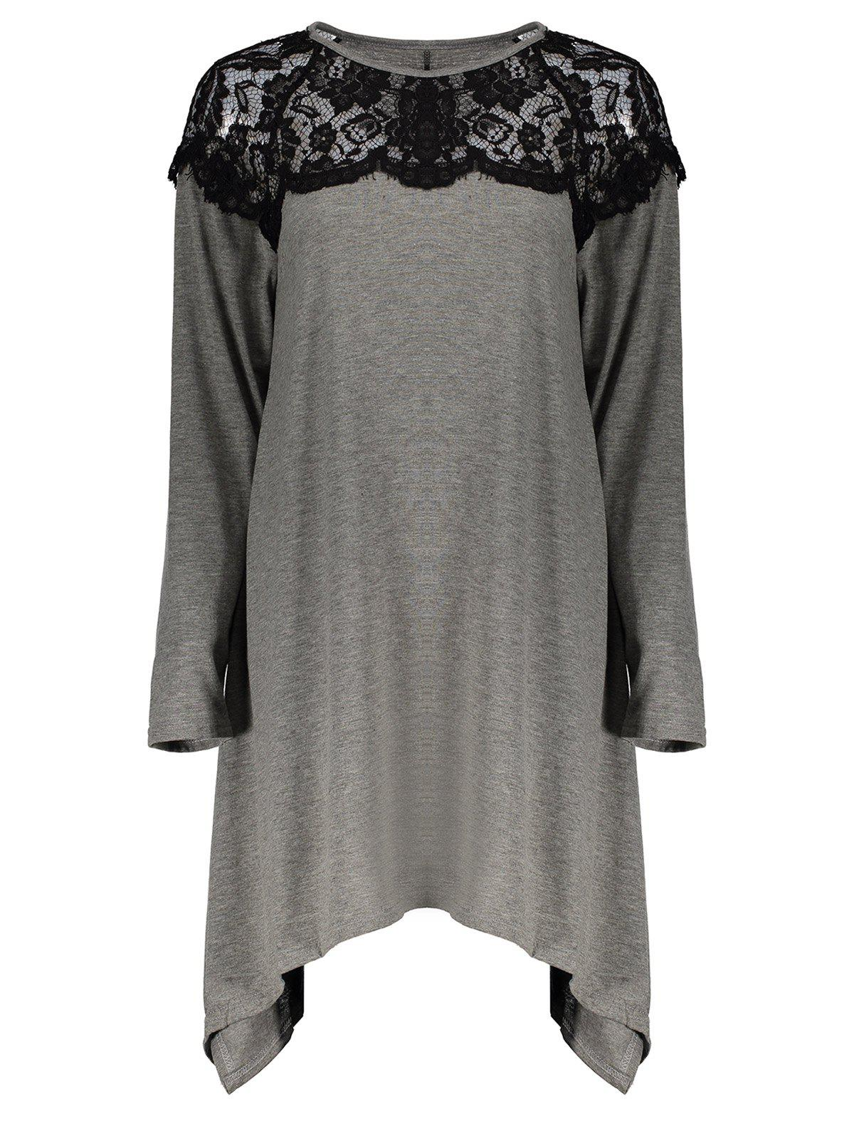 Discount Fashionable Round Neck Long Sleeve Lace Splicing Loose-Fitting Women's T-Shirt