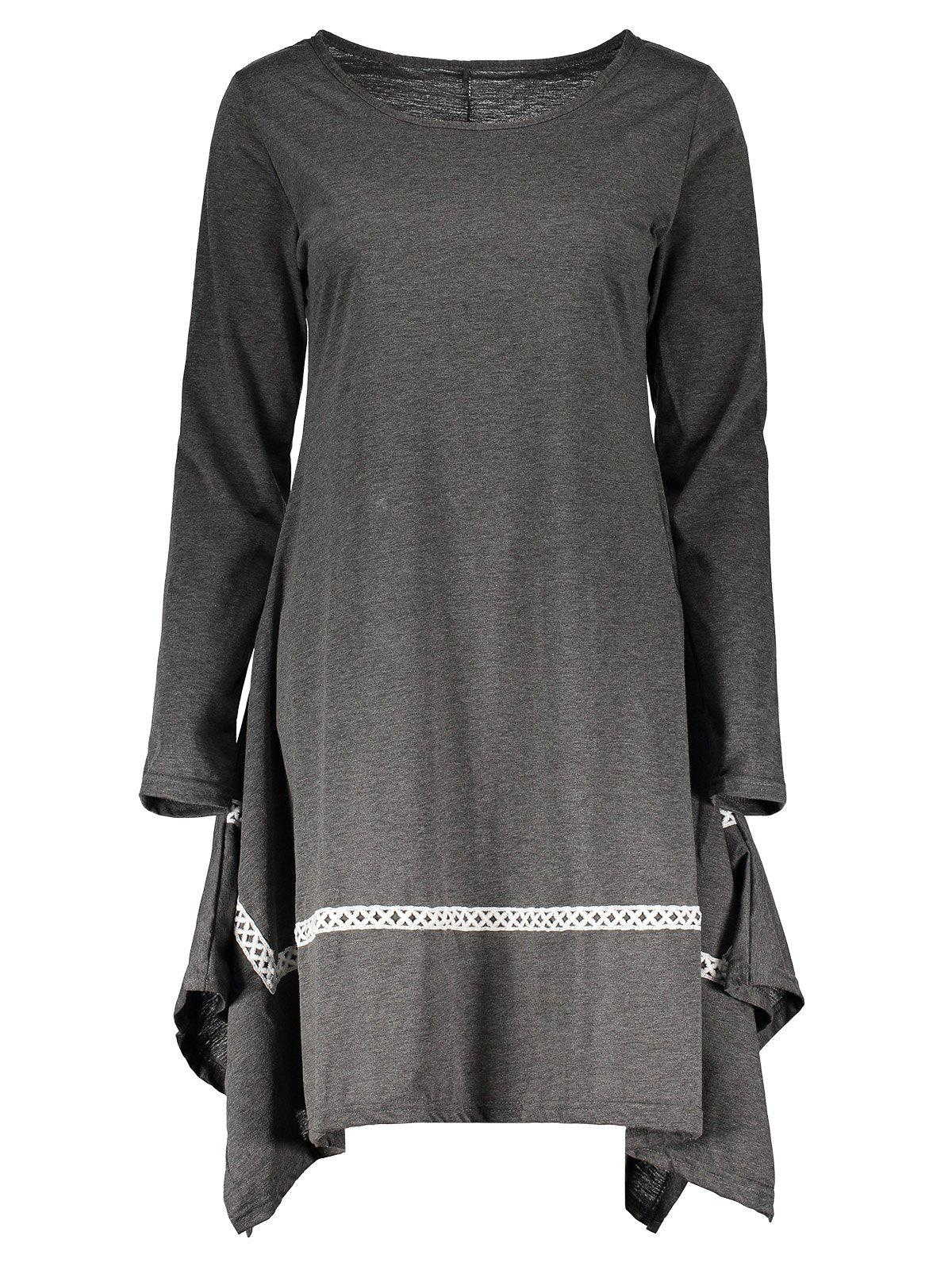 Stylish Round Neck Long Sleeve Spliced Asymmetrical Womens DressWOMEN<br><br>Size: XL; Color: GRAY; Style: Brief; Material: Polyester; Silhouette: Asymmetrical; Dresses Length: Knee-Length; Neckline: Round Collar; Sleeve Length: Long Sleeves; Pattern Type: Patchwork; With Belt: No; Season: Spring,Fall; Weight: 0.392KG; Package Contents: 1 x Dress;