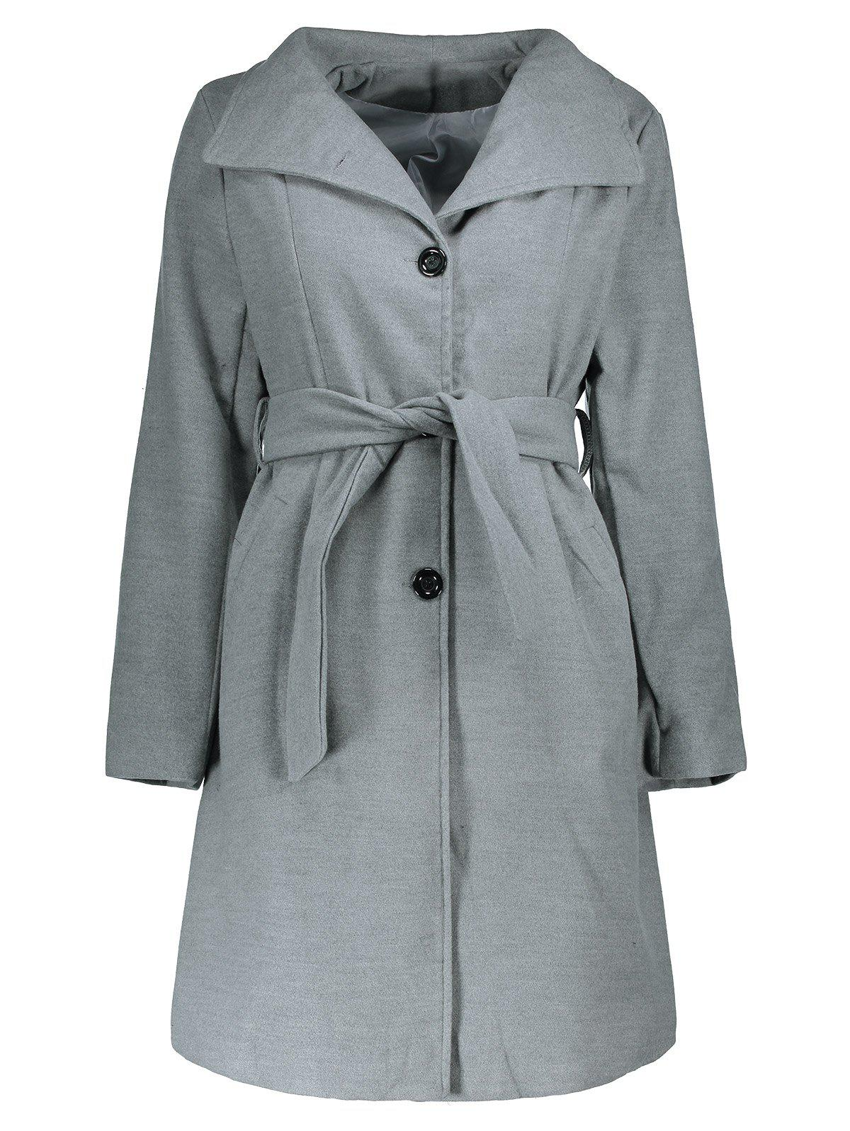 Hot Stylish Stand Collar Long Sleeve Pure Color Self-Tie Coat For Women