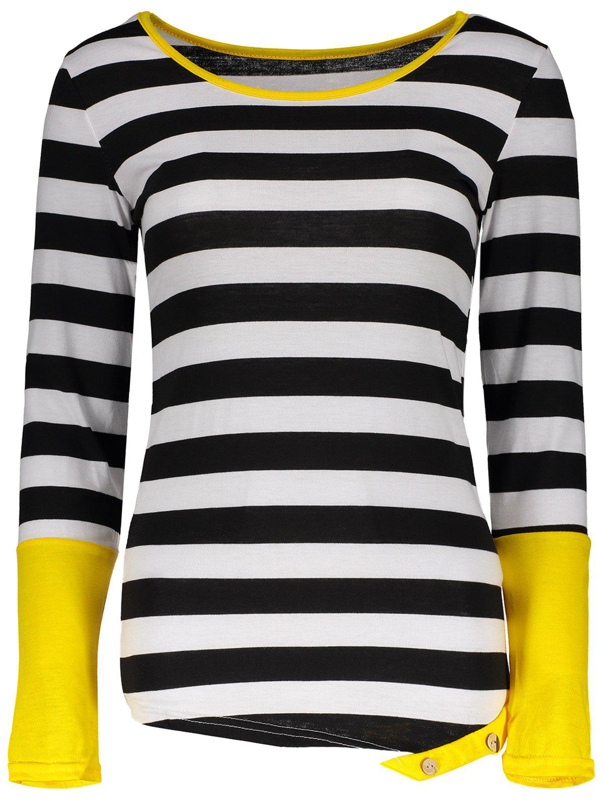 Sale Stylish Scoop Neck Long Sleeve Color Block Striped Women's T-Shirt