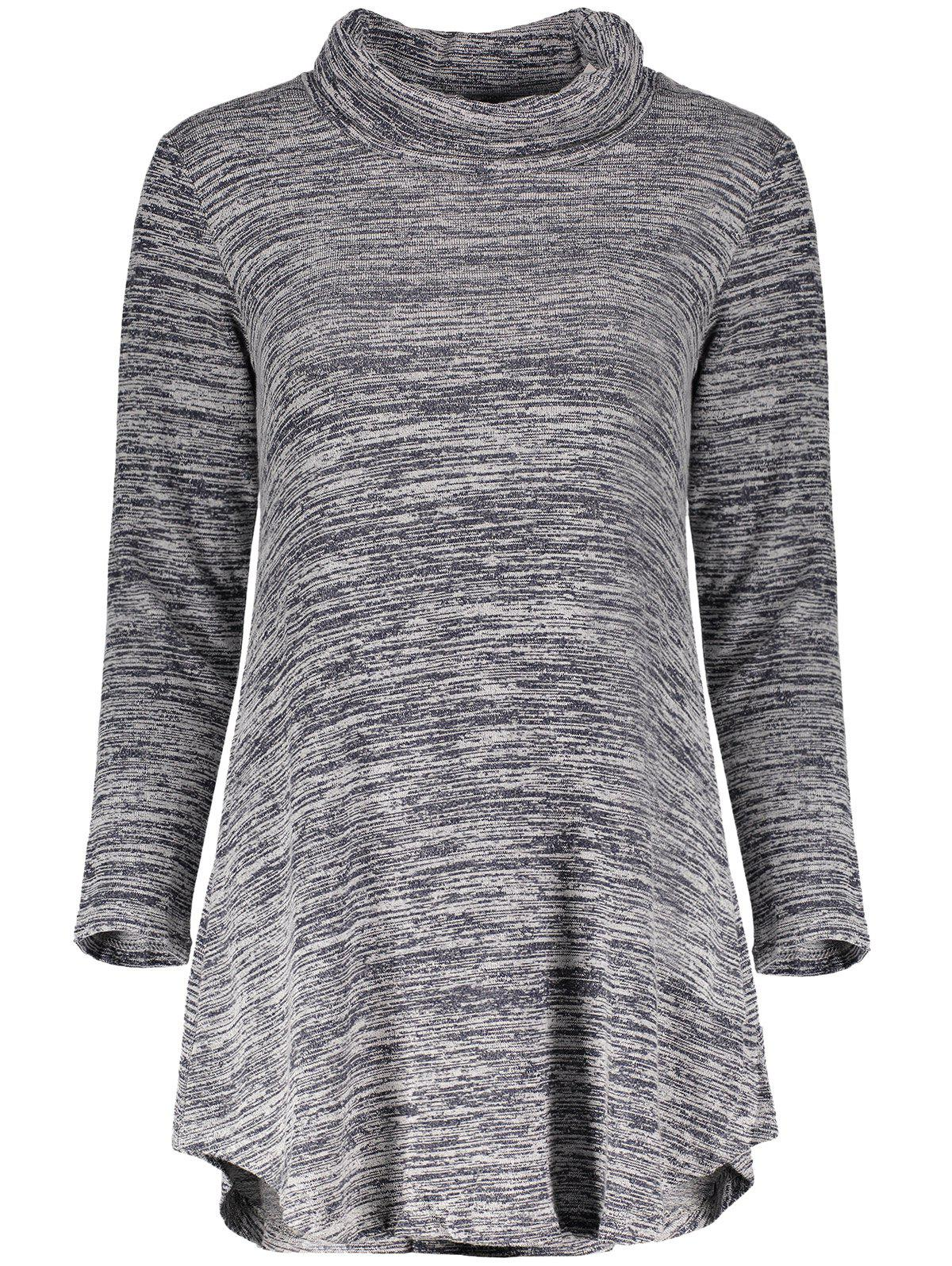 Unique Chic Cowl Neck Long Sleeve Asymmetrical Women's Knitted Dress