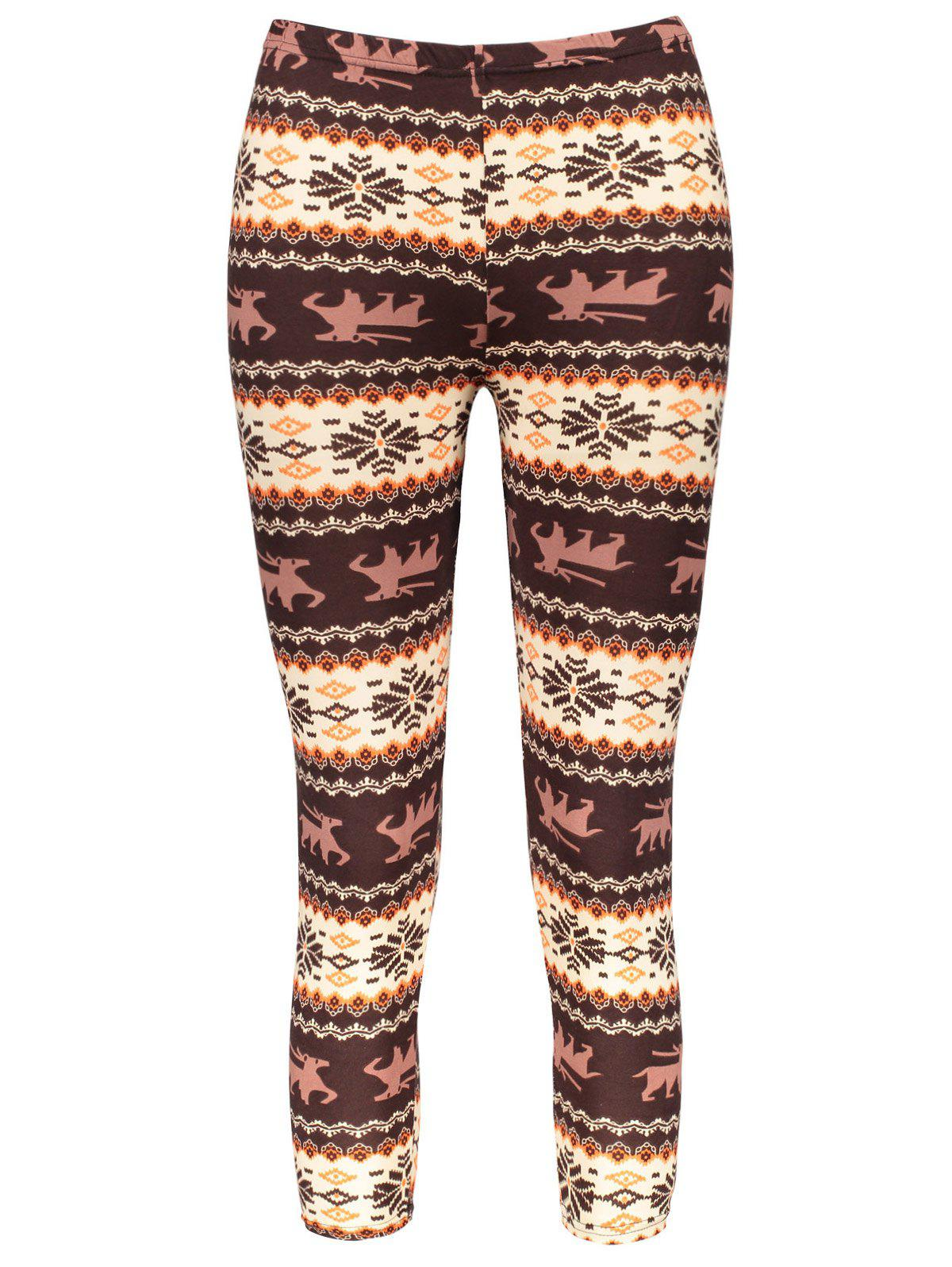 Chic Hit Color Print Stretchy Leggings For WomenWOMEN<br><br>Size: ONE SIZE(FIT SIZE XS TO M); Color: COLORMIX; Style: Fashion; Material: Polyester; Waist Type: High; Pattern Type: Print; Weight: 0.150KG; Package Contents: 1 x Leggings;