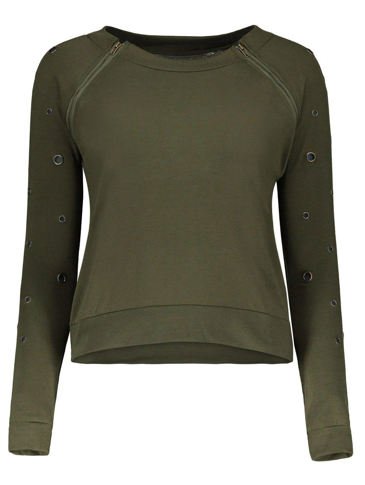 Army green stylish scoop neck long sleeve army green hole for Scoop neck long sleeve shirt