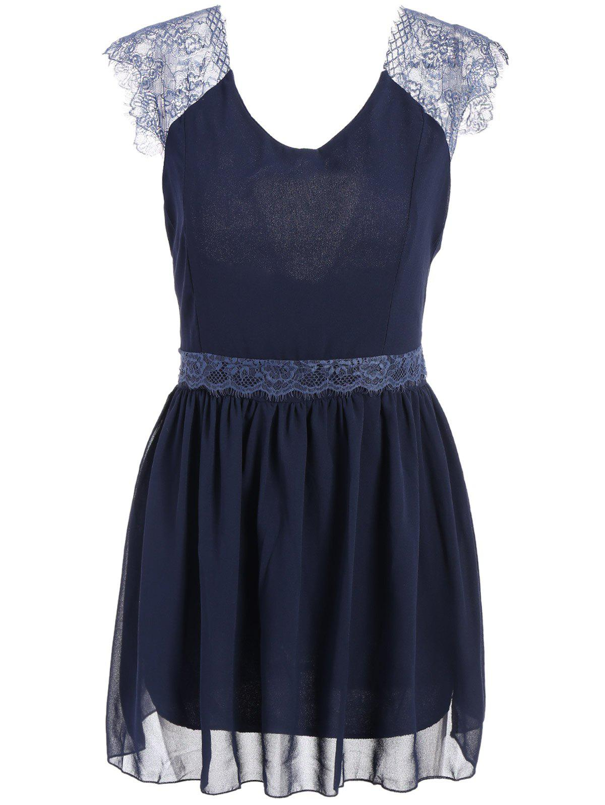 Buy Trendy Style Sleeveless Lace Splicing Solid Color Backless Women's Dress
