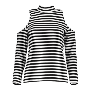 Turtleneck Long Sleeve Striped Cold Shoulder T-Shirt -