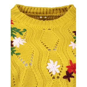 Cut Out Floral Embroidered Sweater -