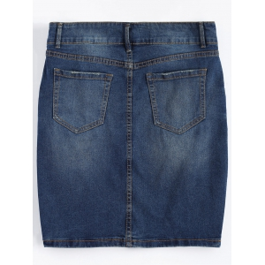Plus Size Dark Wash Denim Mini Skirt - DEEP BLUE 5XL