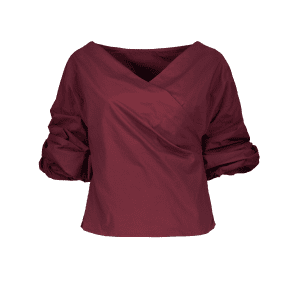 Belted Puffed Sleeve Crossover Blouse -