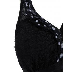 Polka Dot Plus Size Halter Tankini Swimsuits - BLACK 2XL
