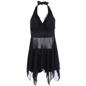 Plus Size Handkerchief Sheer Skirted  Halter Tankini Swimsuit