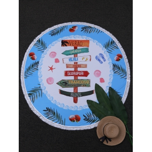 Round Fingerpost Print Beach Throw - Blue And White - One Size