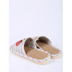 Insect Striped Jute Insert Indoor Slippers - GREEN SIZE(38-39)
