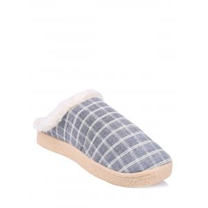 Flocking Grid House Slippers - Blue - Size(42-43)