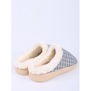 Flocking Grid House Slippers - BLUE SIZE(42-43)