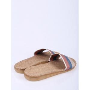 Jute Panel House Color Block Slippers -