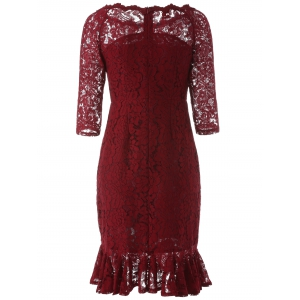 Boat Neck Mini Lace Tight Fishtail Dress - WINE RED XL