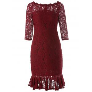 Boat Neck Mini Lace Tight Fishtail Dress