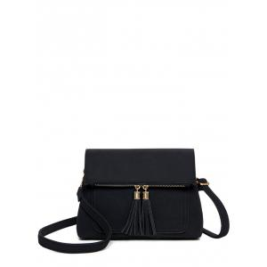 Suede Tassel Flapped Crossbody Bag - Black