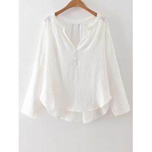 High-Low Loose Blouse - WHITE L