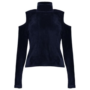 High Neck Cold Shoulder Velour Top - PURPLISH BLUE L