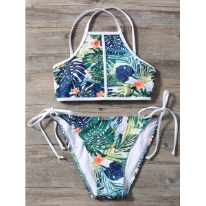 Floral Foliage Print High Neck Bikini -