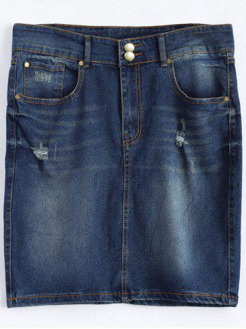 Outfit Plus Size Dark Wash Denim Mini Skirt DEEP BLUE 5XL