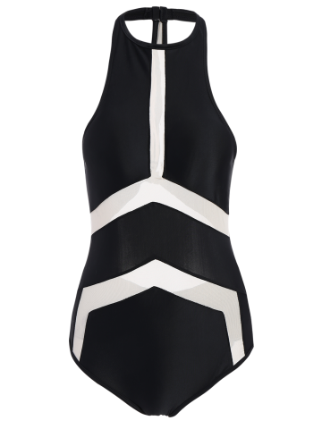 Latest High Neck Contrast Swimsuit BLACK M