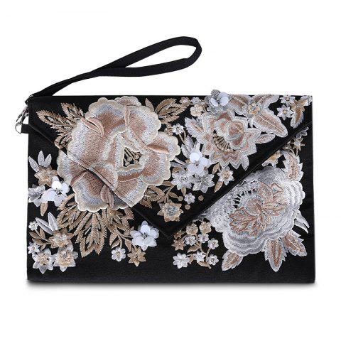 Hot Flower Embroidery Envelope Clutch Bag