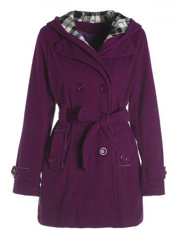 Stylish Hooded Double-Breasted Long Sleeve Worsted Coat For Women - Purple - 2xl