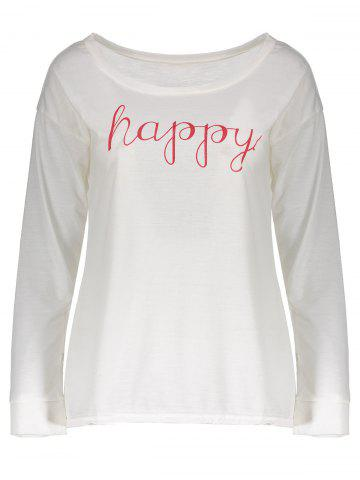 New Stylish Scoop Neck Long Sleeve Letter Print T-Shirt + Tank Top Women's Twinset - M WHITE Mobile