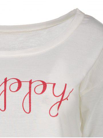 Chic Stylish Scoop Neck Long Sleeve Letter Print T-Shirt + Tank Top Women's Twinset - XL WHITE Mobile