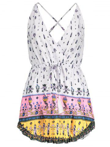 Sexy Plunging Neck Floral Printed Drawstring Dress For Women - White - L