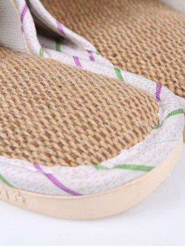 Unique Insect Striped Jute Insert Indoor Slippers - SIZE(38-39) GREEN Mobile