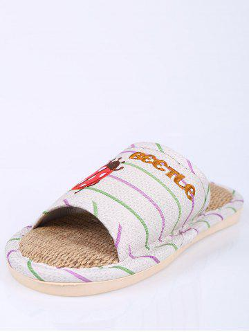 New Insect Striped Jute Insert Indoor Slippers - SIZE(38-39) GREEN Mobile