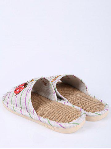 Outfit Insect Striped Jute Insert Indoor Slippers - SIZE(38-39) GREEN Mobile