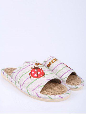 Shops Insect Striped Jute Insert Indoor Slippers - SIZE(38-39) GREEN Mobile