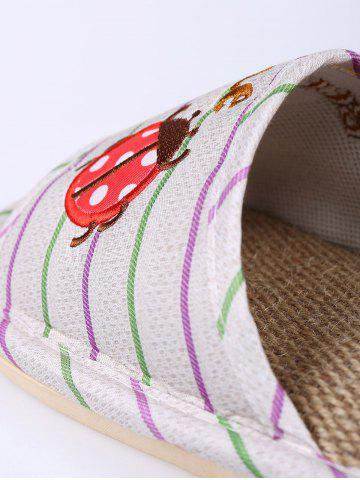 Trendy Insect Striped Jute Insert Indoor Slippers - SIZE(38-39) GREEN Mobile