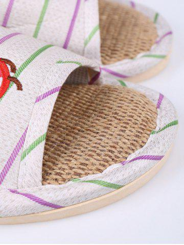 Shop Insect Striped Jute Insert Indoor Slippers - SIZE(38-39) GREEN Mobile