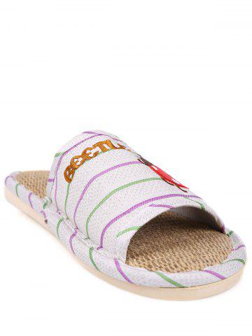 Shops Insect Striped Jute Insert Indoor Slippers