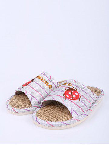 Trendy Insect Striped Jute Insert Indoor Slippers - SIZE(38-39) PURPLE Mobile