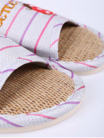 Fashion Insect Striped Jute Insert Indoor Slippers - SIZE(38-39) PURPLE Mobile